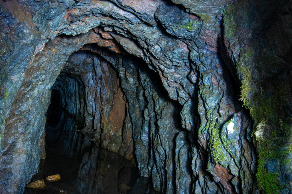 En av stollgångarna vid Inglamåla gruva.